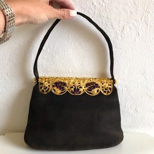 Made in Italy Brown Gold Toned Mini Bag Purse